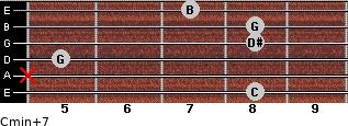 Cmin(+7) for guitar on frets 8, x, 5, 8, 8, 7