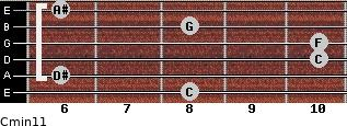 Cmin11 for guitar on frets 8, 6, 10, 10, 8, 6