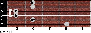 Cmin11 for guitar on frets 8, 6, 5, 5, 6, 6