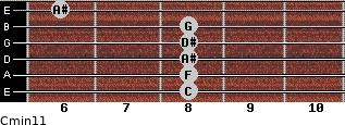 Cmin11 for guitar on frets 8, 8, 8, 8, 8, 6