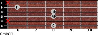 Cmin11 for guitar on frets 8, x, 8, 8, 6, x
