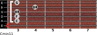 Cmin11 for guitar on frets x, 3, 3, 3, 4, 3