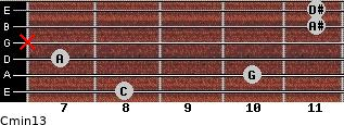 Cmin13 for guitar on frets 8, 10, 7, x, 11, 11