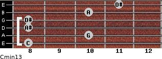 Cmin13 for guitar on frets 8, 10, 8, 8, 10, 11