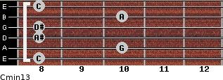 Cmin13 for guitar on frets 8, 10, 8, 8, 10, 8