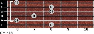 Cmin13 for guitar on frets 8, 6, 7, 8, 8, 6