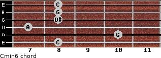 Cmin6 for guitar on frets 8, 10, 7, 8, 8, 8