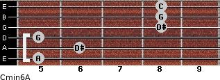 Cmin6\A for guitar on frets 5, 6, 5, 8, 8, 8
