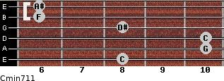 Cmin7/11 for guitar on frets 8, 10, 10, 8, 6, 6
