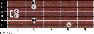 Cmin7/11 for guitar on frets 8, 6, 5, 5, 6, 6
