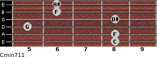 Cmin7/11 for guitar on frets 8, 8, 5, 8, 6, 6