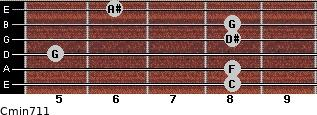 Cmin7/11 for guitar on frets 8, 8, 5, 8, 8, 6