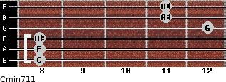 Cmin7/11 for guitar on frets 8, 8, 8, 12, 11, 11