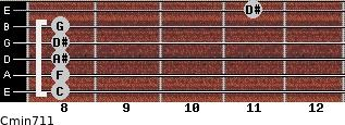 Cmin7/11 for guitar on frets 8, 8, 8, 8, 8, 11