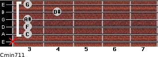 Cmin7/11 for guitar on frets x, 3, 3, 3, 4, 3
