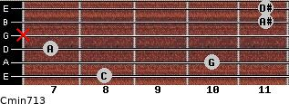 Cmin7/13 for guitar on frets 8, 10, 7, x, 11, 11