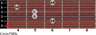 Cmin7\9\Eb for guitar on frets x, 6, 5, 5, 4, 6