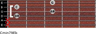 Cmin7\9\Eb for guitar on frets x, x, 1, 3, 1, 3