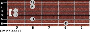 Cmin7(add11) for guitar on frets 8, 6, 5, 5, 6, 6