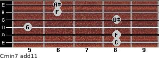 Cmin7(add11) for guitar on frets 8, 8, 5, 8, 6, 6