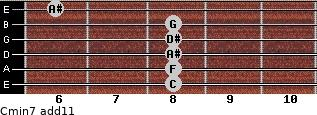 Cmin7(add11) for guitar on frets 8, 8, 8, 8, 8, 6