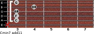 Cmin7(add11) for guitar on frets x, 3, 3, 3, 4, 3