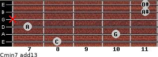 Cmin7(add13) for guitar on frets 8, 10, 7, x, 11, 11