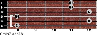 Cmin7(add13) for guitar on frets 8, 12, 8, 12, 11, 11