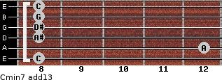 Cmin7(add13) for guitar on frets 8, 12, 8, 8, 8, 8