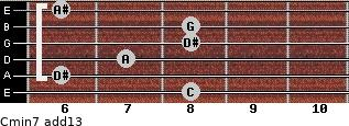 Cmin7(add13) for guitar on frets 8, 6, 7, 8, 8, 6
