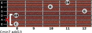 Cmin7(add13) for guitar on frets 8, x, 8, 12, 10, 11