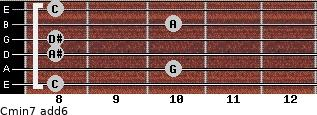 Cmin7(add6) for guitar on frets 8, 10, 8, 8, 10, 8
