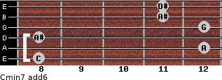 Cmin7(add6) for guitar on frets 8, 12, 8, 12, 11, 11