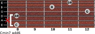 Cmin7(add6) for guitar on frets 8, x, 8, 12, 10, 11