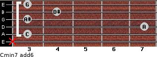 Cmin7(add6) for guitar on frets x, 3, 7, 3, 4, 3
