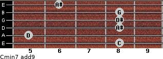 Cmin7(add9) for guitar on frets 8, 5, 8, 8, 8, 6