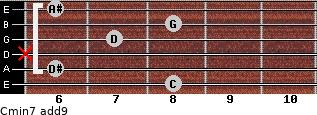 Cmin7(add9) for guitar on frets 8, 6, x, 7, 8, 6