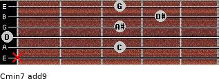 Cmin7(add9) for guitar on frets x, 3, 0, 3, 4, 3