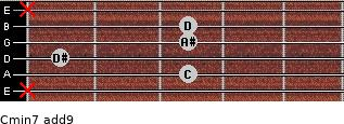 Cmin7(add9) for guitar on frets x, 3, 1, 3, 3, x