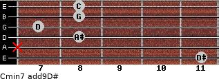 Cmin7(add9)\D# for guitar on frets 11, x, 8, 7, 8, 8