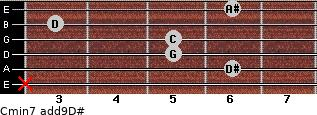 Cmin7(add9)\D# for guitar on frets x, 6, 5, 5, 3, 6
