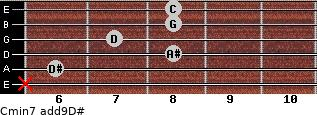 Cmin7(add9)\D# for guitar on frets x, 6, 8, 7, 8, 8