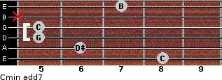 Cmin(add7) for guitar on frets 8, 6, 5, 5, x, 7