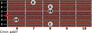 Cmin(add7) for guitar on frets 8, 6, x, 8, 8, 7