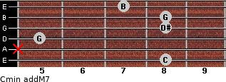 Cmin(addM7) for guitar on frets 8, x, 5, 8, 8, 7