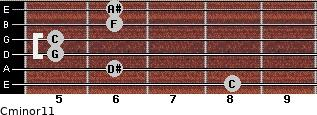 Cminor11 for guitar on frets 8, 6, 5, 5, 6, 6