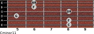 Cminor11 for guitar on frets 8, 8, 5, 8, 6, 6