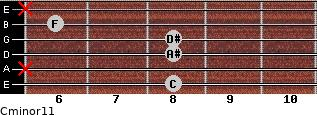 Cminor11 for guitar on frets 8, x, 8, 8, 6, x