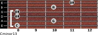 Cminor13 for guitar on frets 8, 10, 8, 8, 10, 11
