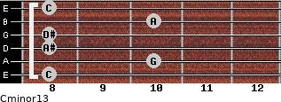 Cminor13 for guitar on frets 8, 10, 8, 8, 10, 8